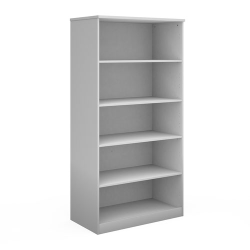 Deluxe bookcase 2000mm high with 4 shelves - white