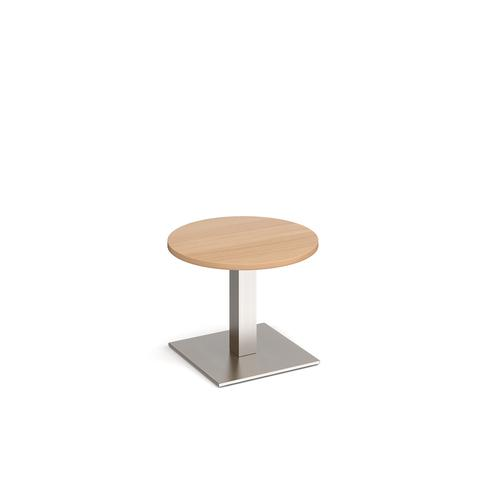 Brescia circular coffee table with flat square brushed steel base 600mm - beech