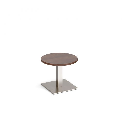 Brescia circular coffee table with flat square brushed steel base 600mm - walnut