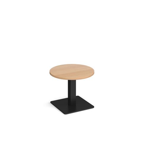 Brescia circular coffee table with flat square black base 600mm - beech
