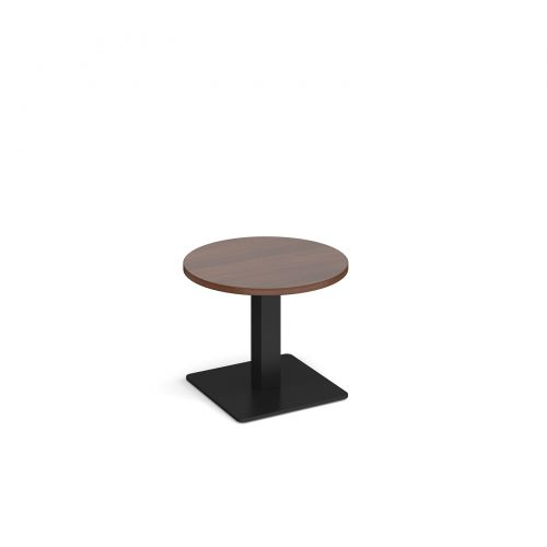 Brescia circular coffee table with flat square black base 600mm - walnut