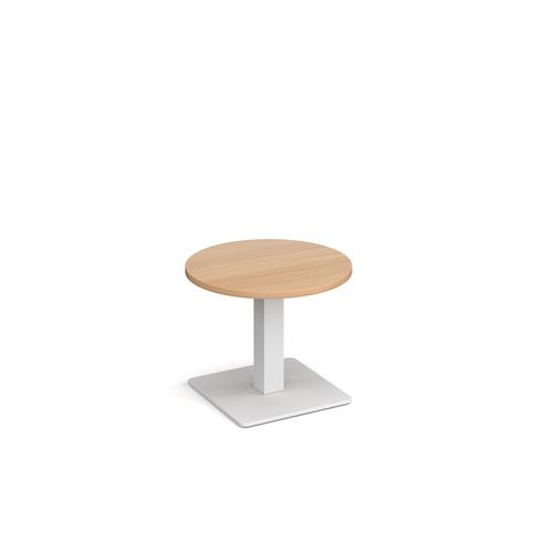 Brescia circular coffee table with flat square white base 600mm - beech