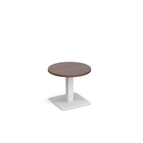 Brescia circular coffee table with flat square white base 600mm - walnut