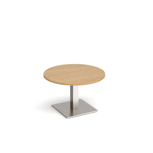 Brescia circular coffee table with flat square brushed steel base 800mm - oak