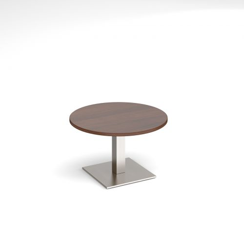 Brescia circular coffee table with flat square brushed steel base 800mm - walnut