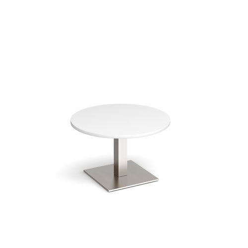 Brescia circular coffee table with flat square brushed steel base 800mm - white