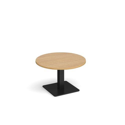 Brescia circular coffee table with flat square black base 800mm - oak