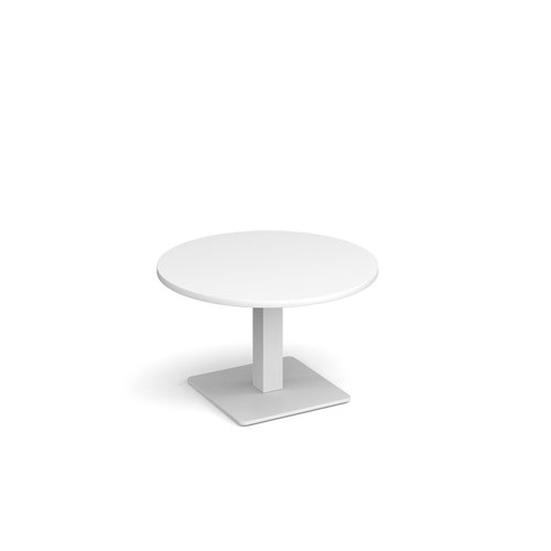 Brescia circular coffee table with flat square white base 800mm - white