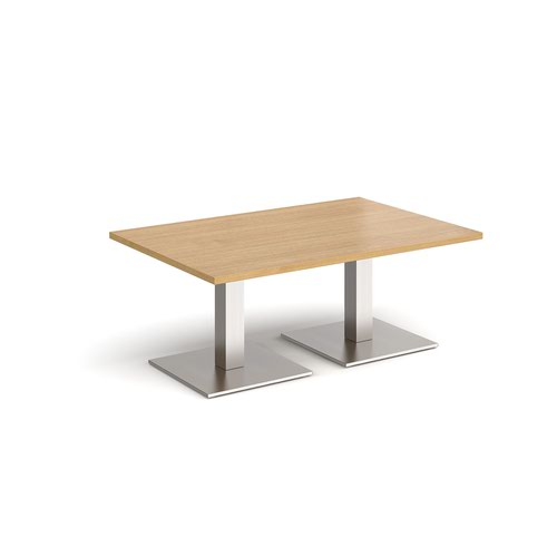 Brescia rectangular coffee table with flat square brushed steel bases 1200mm x 800mm - oak