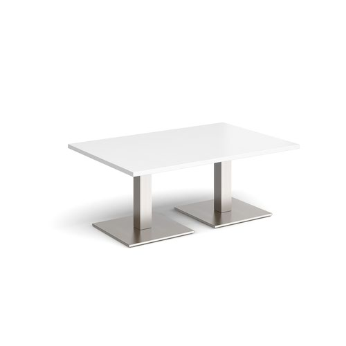 Brescia rectangular coffee table with flat square brushed steel bases 1200mm x 800mm - white