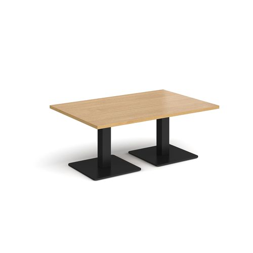 Brescia rectangular coffee table with flat square black bases 1200mm x 800mm - oak