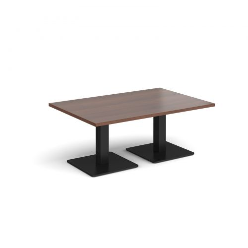 Brescia rectangular coffee table with flat square black bases 1200mm x 800mm - walnut