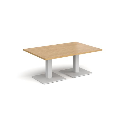 Brescia rectangular coffee table with flat square white bases 1200mm x 800mm - oak