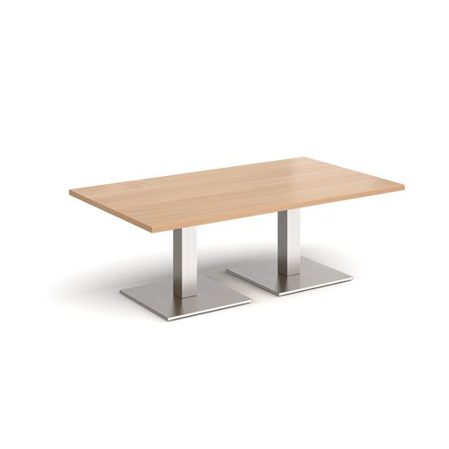 Brescia rectangular coffee table with flat square brushed steel bases 1400mm x 800mm - beech