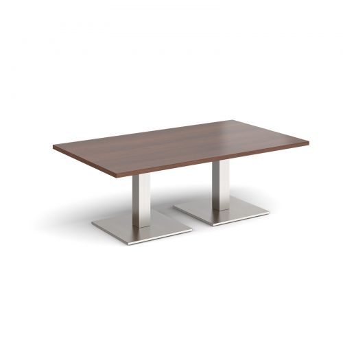Brescia rectangular coffee table with flat square brushed steel bases 1400mm x 800mm - walnut