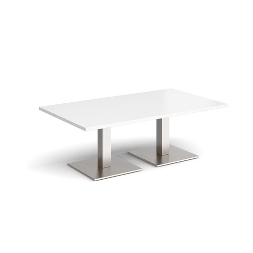 Brescia rectangular coffee table with flat square brushed steel bases 1400mm x 800mm - white