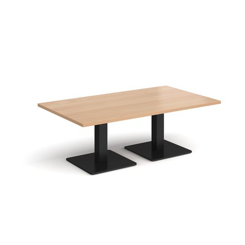 Brescia rectangular coffee table with flat square black bases 1400mm x 800mm - beech
