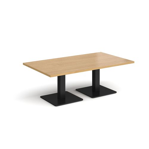 Brescia rectangular coffee table with flat square black bases 1400mm x 800mm - oak