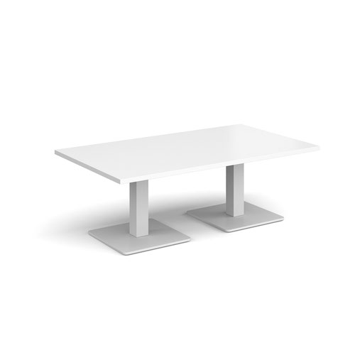 Brescia rectangular coffee table with flat square white bases 1400mm x 800mm - white