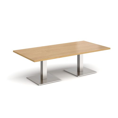 Brescia rectangular coffee table with flat square brushed steel bases 1600mm x 800mm - oak