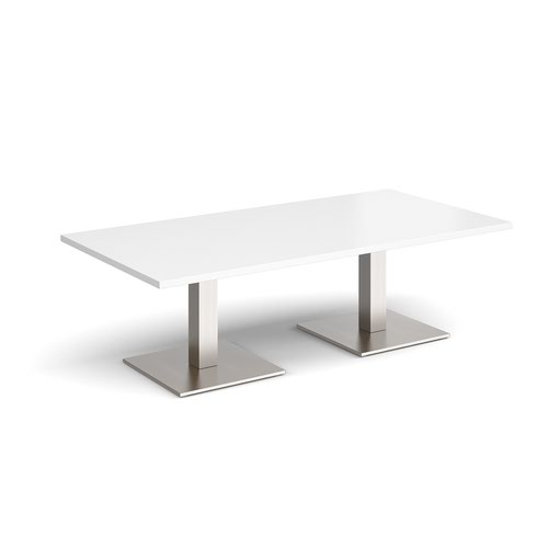 Brescia rectangular coffee table with flat square brushed steel bases 1600mm x 800mm - white