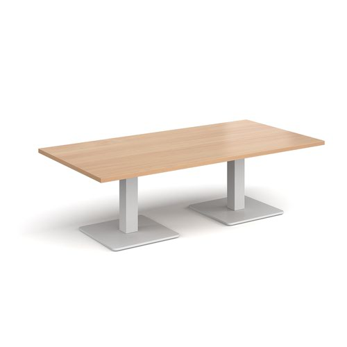 Brescia rectangular coffee table with flat square white bases 1600mm x 800mm - beech