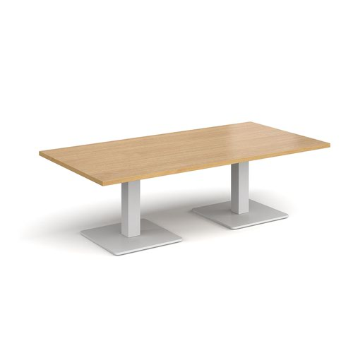 Brescia rectangular coffee table with flat square white bases 1600mm x 800mm - oak