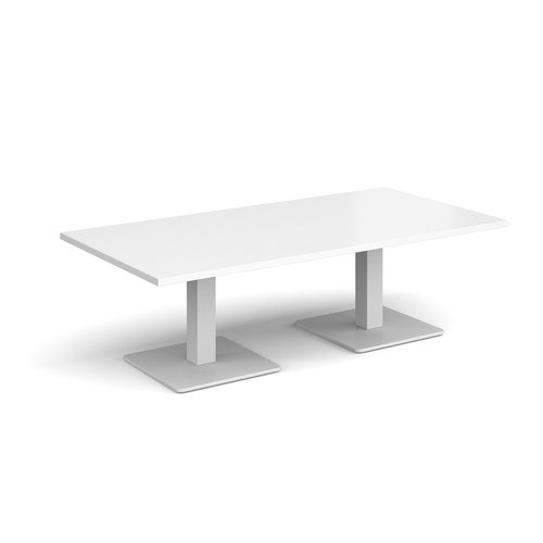 Brescia rectangular coffee table with flat square white bases 1600mm x 800mm - white