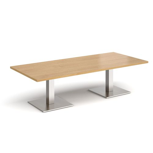 Brescia rectangular coffee table with flat square brushed steel bases 1800mm x 800mm - oak