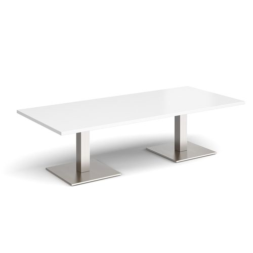 Brescia rectangular coffee table with flat square brushed steel bases 1800mm x 800mm - white