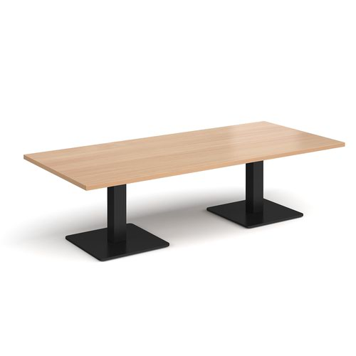 Brescia rectangular coffee table with flat square black bases 1800mm x 800mm - beech