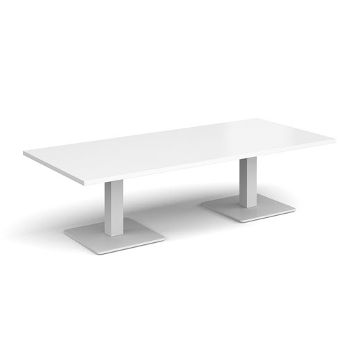 Brescia rectangular coffee table with flat square white bases 1800mm x 800mm - white