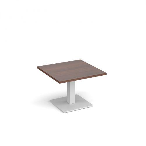 Brescia square coffee table with flat square white base 700mm - walnut