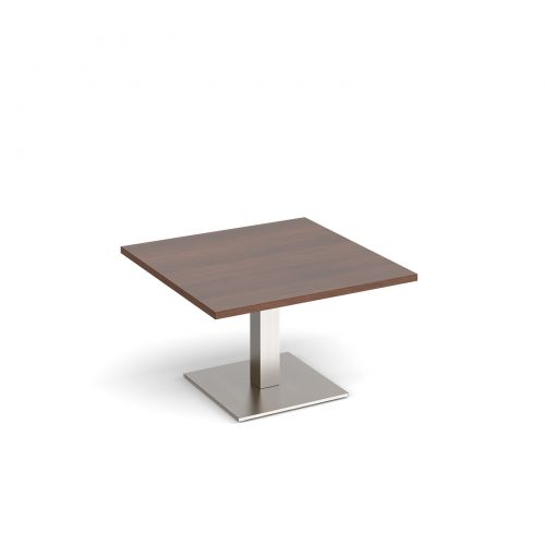Brescia square coffee table with flat square brushed steel base 800mm - walnut