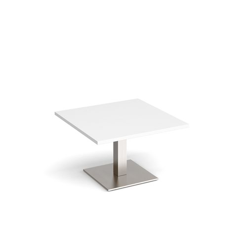 Brescia square coffee table with flat square brushed steel base 800mm - white