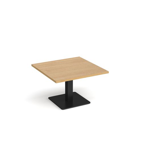 Brescia square coffee table with flat square black base 800mm - oak