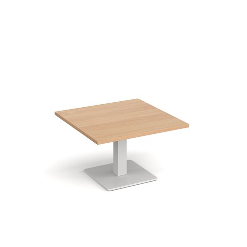 Brescia square coffee table with flat square white base 800mm - beech
