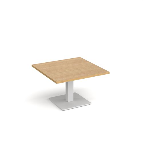 Brescia square coffee table with flat square white base 800mm - oak