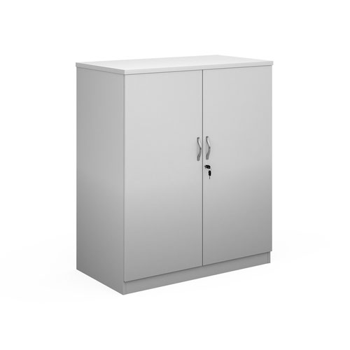 Deluxe double door cupboard 1200mm high with 2 shelves - white