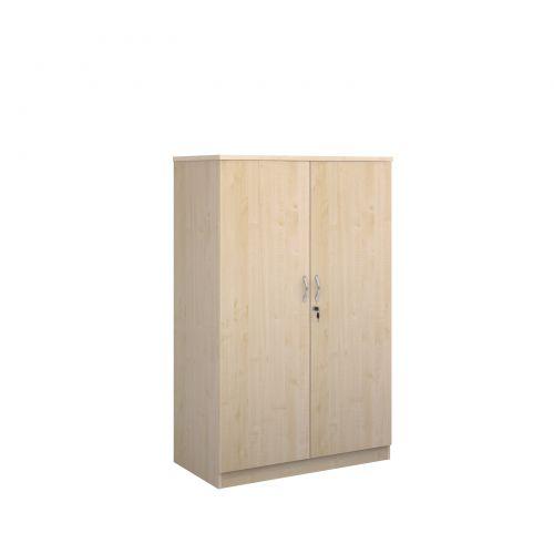 Deluxe double door cupboard 1600mm high with 3 shelves - maple