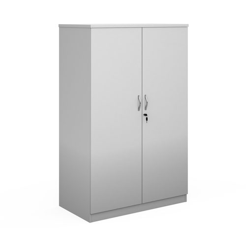 Deluxe double door cupboard 1600mm high with 3 shelves - white