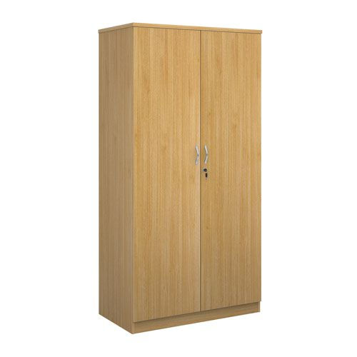 Deluxe double door cupboard 2000mm high with 4 shelves - oak