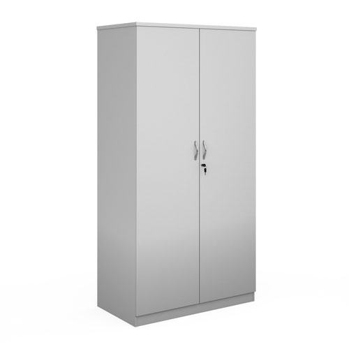 Deluxe double door cupboard 2000mm high with 4 shelves - white