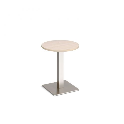 Brescia circular dining table with flat square brushed steel base 600mm - maple