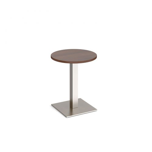 Brescia circular dining table with flat square brushed steel base 600mm - walnut