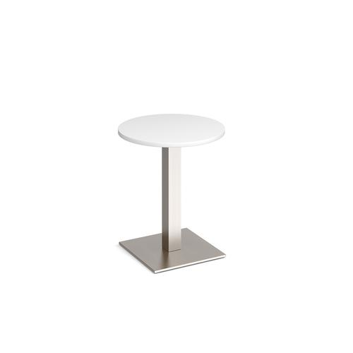 Brescia circular dining table with flat square brushed steel base 600mm - white