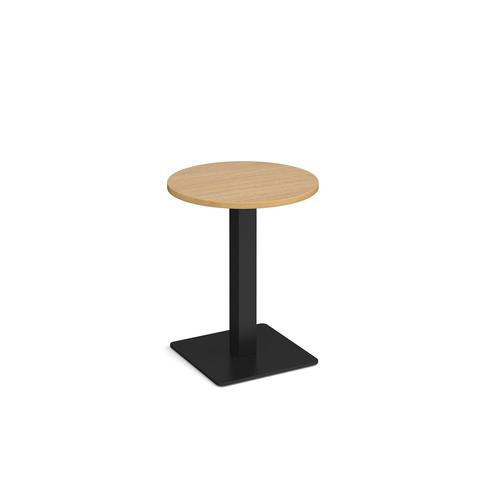 Brescia circular dining table with flat square black base 600mm - oak