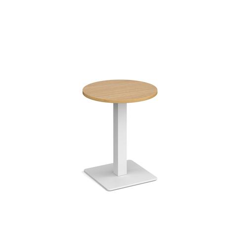 Brescia circular dining table with flat square white base 600mm - oak
