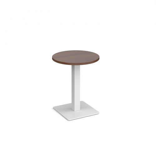 Brescia circular dining table with flat square white base 600mm - walnut