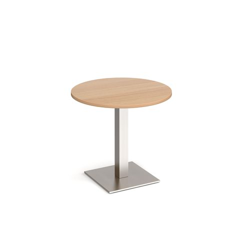 Brescia circular dining table with flat square brushed steel base 800mm - beech